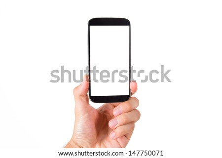 Hand holding smart phone with blank, white screen, front view, isolated on white background. - stock photo