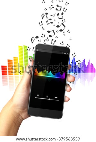 Hand holding smart phone with music notes - stock photo