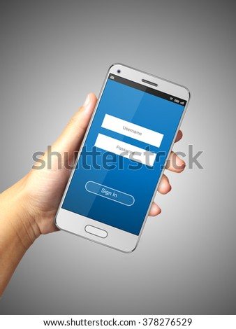Hand holding smart phone  with Sign in page.