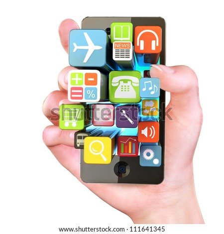 Hand holding Smartphone apps,touchscreen smartphone with application software icons extruding from the screen, isolated in white - stock photo