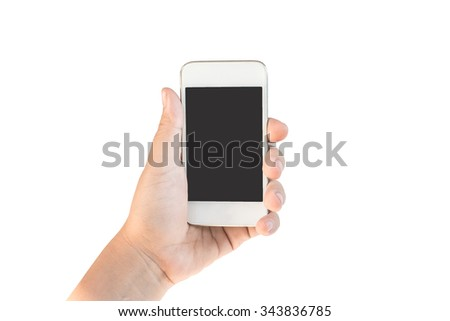 Hand holding smartphone for do something. - stock photo