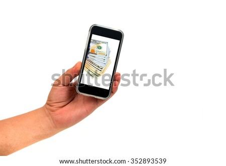 Hand holding Smartphone for looking Online payment System isolated on white