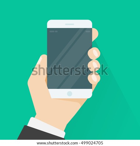 Hand holding smartphone illustration on green color background, flat cartoon hand with mobile phone image