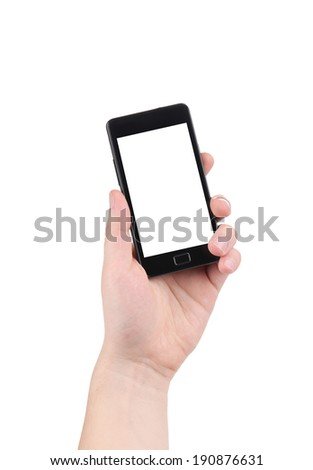 Hand holding smartphone. Isolated on a white background.