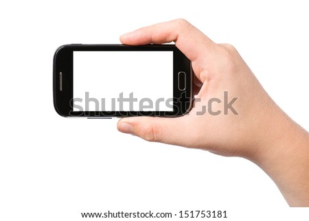 Hand holding smartphone, isolated on white background
