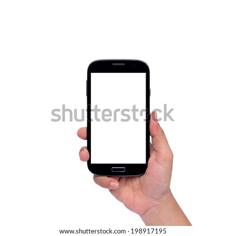 Hand holding smartphone isolated on white background