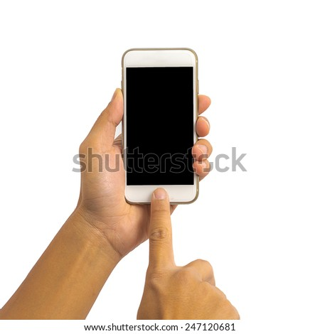 Hand holding smartphone isolated on white background - stock photo