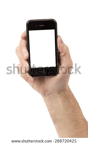 Hand holding smartphone on white background