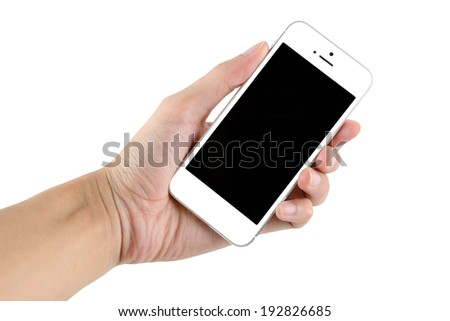 Hand holding smartphone with blank screen isolated on white background - stock photo