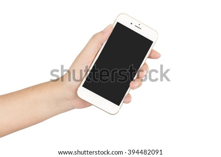 Hand holding smartphone with blank screen isolated on white background, clipping path - stock photo