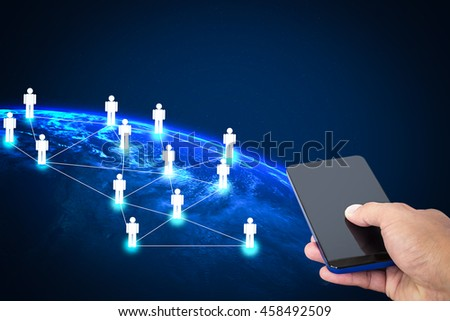 Hand holding smartphone with business social networking technology, Elements of this image furnished by NASA