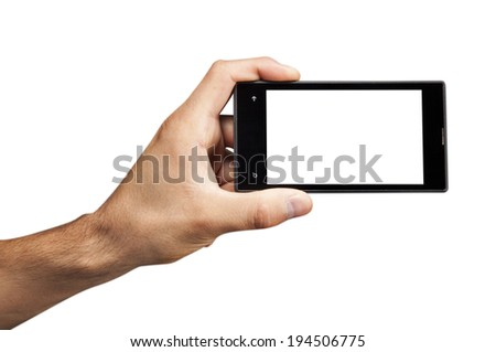 Hand holding  Smartphone with white screen on white background
