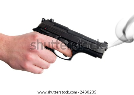 Hand holding smoking gun. Isolated on white background.