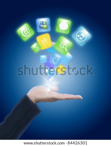 Hand holding social network icon - stock photo