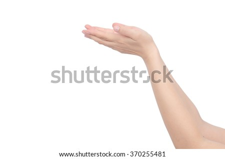 hand holding some like a blank on white background - stock photo
