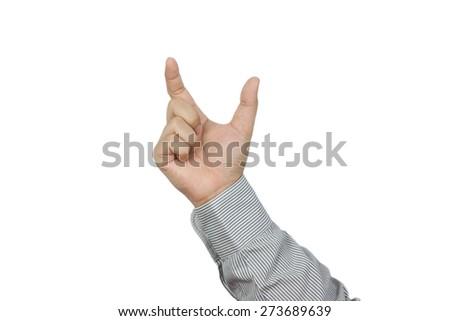 Hand holding something isolated on white background - stock photo