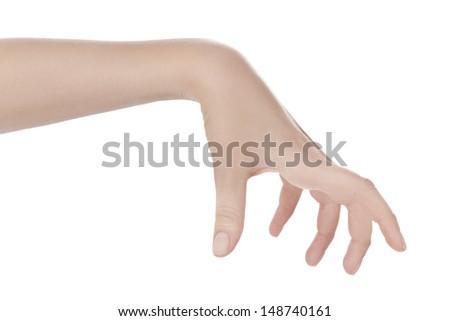 hand holding something. White background.  - stock photo