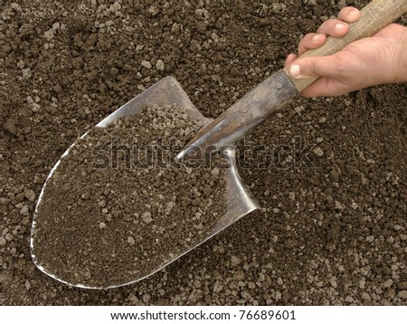 hand holding spade with soil