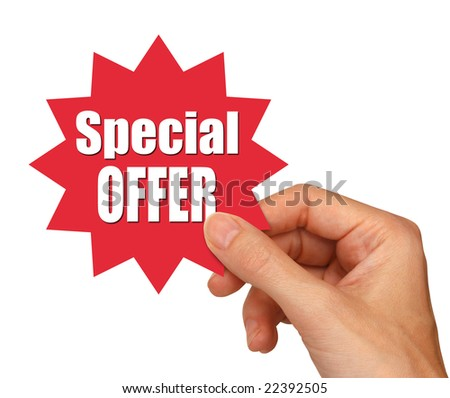hand holding special offer star with clipping path - stock photo