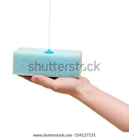 hand holding sponge with liquid soap isolated on white background. - stock photo