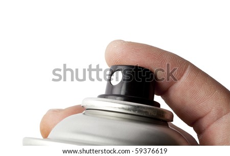 hand holding spray can on white background - stock photo