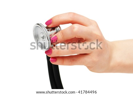 Hand holding stethoscope isolated on  the white