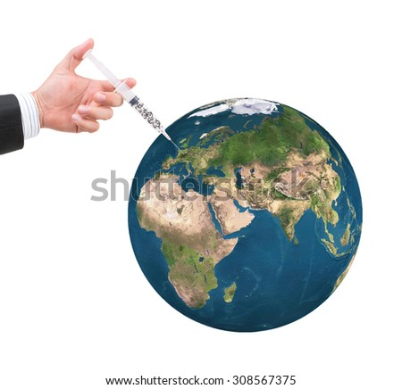 hand holding syringe filled with currency on white background