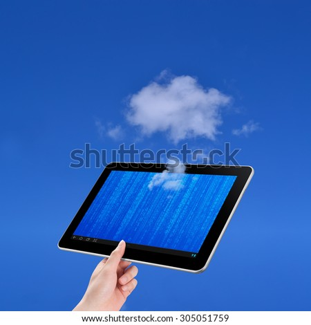 Hand holding tablet, cloud computing concept on white background - stock photo