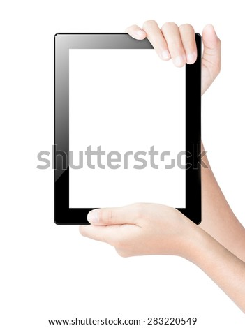 hand holding tablet digital isolated white clipping path inside - stock photo