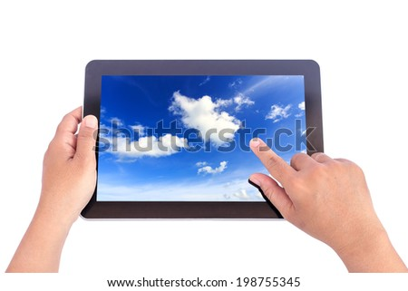 Hand holding tablet isolated on white background