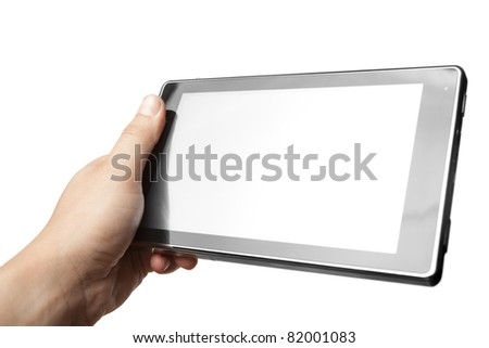 Hand holding Tablet PC isolated on white - stock photo