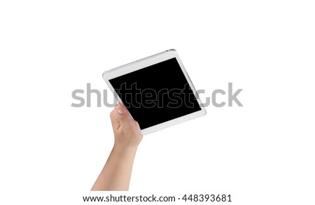 hand holding tablet pc isolated on white background - stock photo