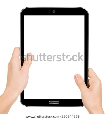 Hand holding tablet pc with touching hand. High quality and very - stock photo