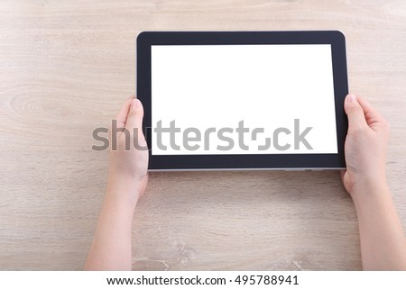 Hand holding tablet, Tablet mockup for webdesign and user interface