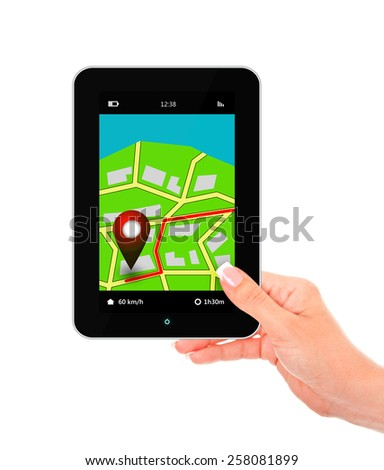 hand holding tablet with navigation application isolated over white background