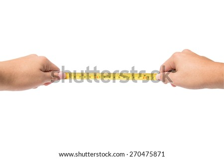 Hand holding tape cartridge meter isolated on white background
