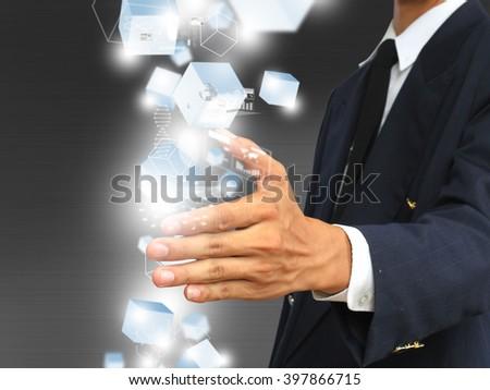 Hand holding technology - stock photo