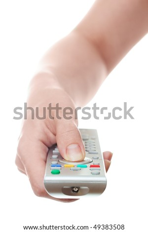 hand holding television remote control - stock photo