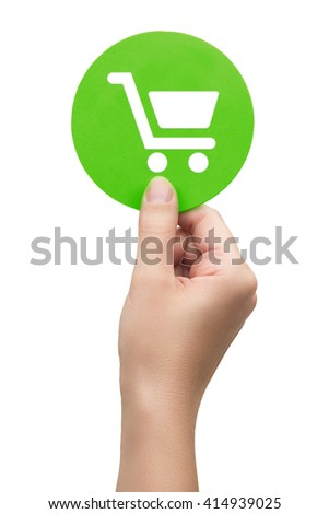 hand holding the cart icon