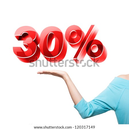 Hand holding the discount information - stock photo