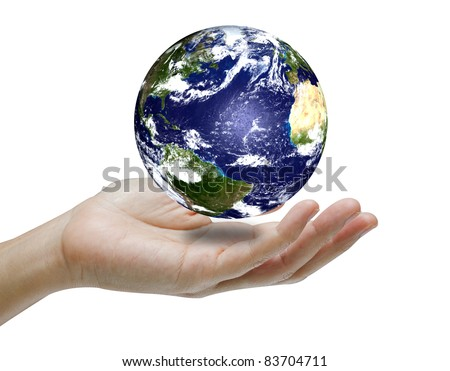 Hand holding the earth .Earth image provided by Nasa. - stock photo