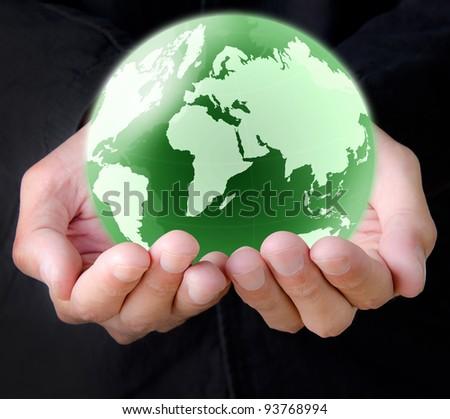 hand holding the earth globe - stock photo