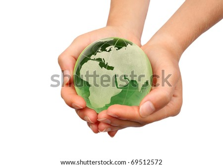 Hand holding the Earth isolated - stock photo