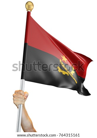 Hand holding the flag of Angola isolated on a white background, 3D rendering