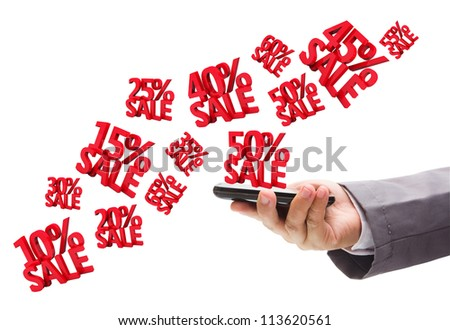 Hand holding the phone with Discounts 3D, isolated on white background - stock photo