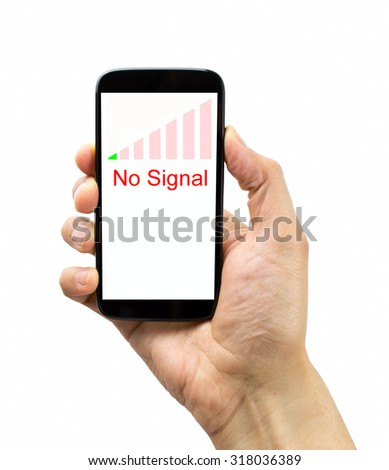 hand holding the smartphone with bad coverage over white background. All screen content is designed by us and not copyrighted by others and created with digitizing tablet and image editor - stock photo