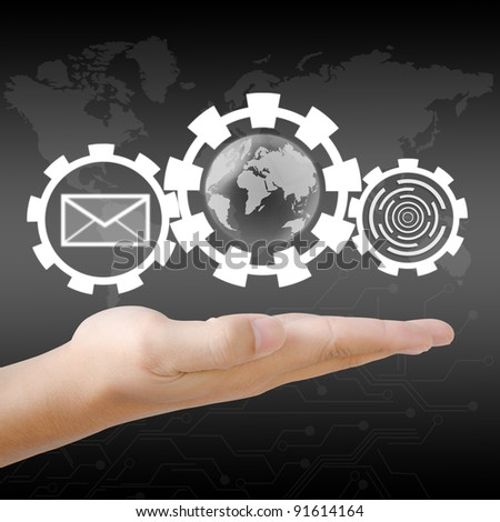 hand holding the world and email - stock photo