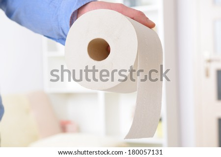 Hand holding toilet paper at home - stock photo