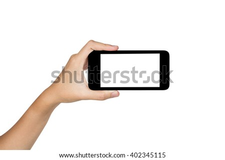 Hand holding touchscreen smart phone, clipping path