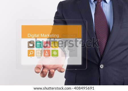 Hand Holding Transparent Tablet PC with Digital Marketing screen